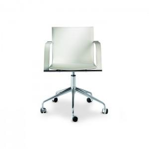 Ādas krēsls ar roku balstiem GALENA R (uz riteņiem)