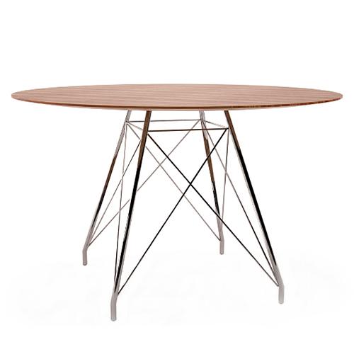 Apaļš galds GLAMOUR W d=90 cm (rieksta virsma)