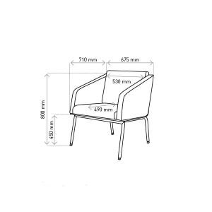 Krēsls ar roku balstiem FIN/ metāls-hroms