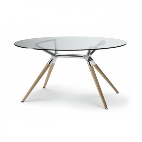 Ovālas formas stikla galds METROPOLIS
