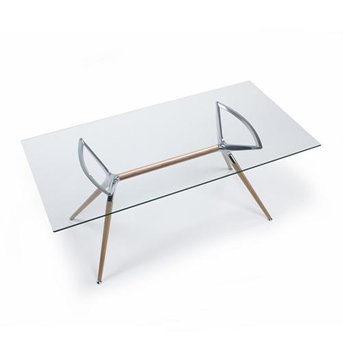 Taisnstūra stikla galds METROPOLIS NATURAL