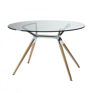 Apaļš stikla galds METROPOLIS Natural d=100